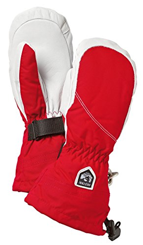 (Hestra Womens Extra Warm Ski Gloves: Heli Leather Winter Cold Weather Powder Mitten, Red/Off White,)