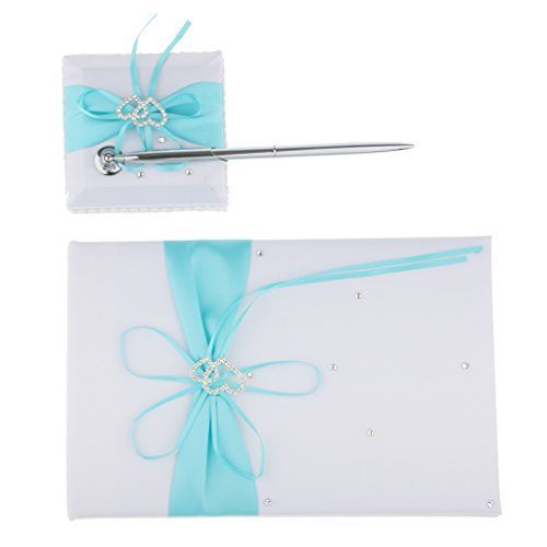 MonkeyJack 3pcs /Set Satin Crystal Bow Pen And Pen Stand Guest Book Wedding Reception