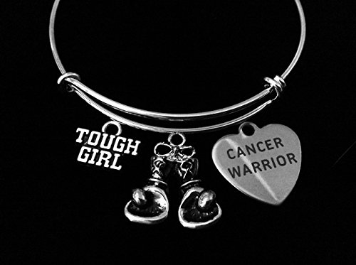 Cancer Warrior Fighter Tough Girl Adjustable Bracelet Expandable Silver Charm Bangle Inspirational Gift Boxing Gloves Personalized and Custom Options Available