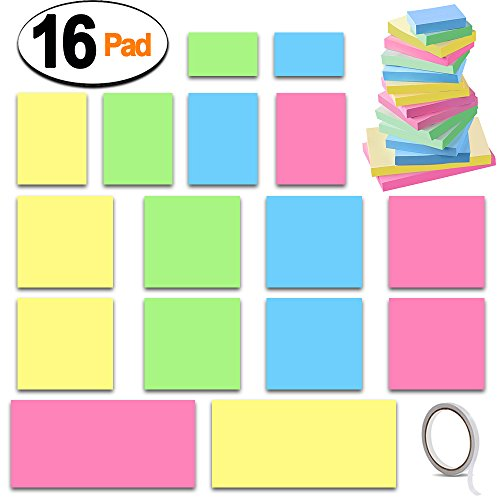 Sticky Notes, SIQUK 16 Pads Adhesive Note Pads 2 x 1.5 inches/ 3 x 3 inches/ 3 x 2 inches/ 3 x 5 inches Candy Color Self Stick Notes Sheet Assorted with a Double Sided Tape for School, Office and Home