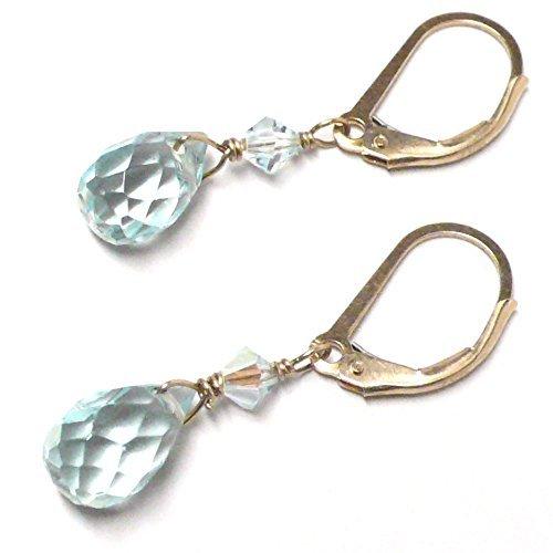 Lab Grown Aqua Quartz 10x6 Briolette Lever Back Earrings Swarovski Crystal Gold-Filled