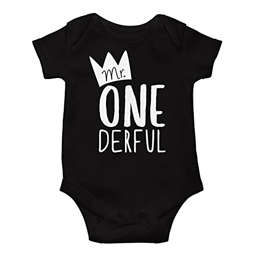 Mr One-Derful Baby Boys 1st Birthday Onesie First Birthday Onesie for boys,Black Onesie - 6-12 mo. Short sleeve,Black