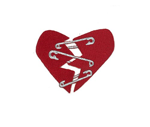Punk Rock Safety Pin Heart Iron-On Patch (No Border - 3.30