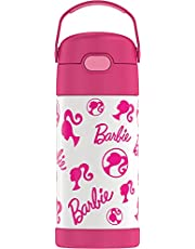 THERMOS FUNTAINER 12 Ounce Stainless Steel Vacuum Insulated Kids Straw Bottle, Barbie