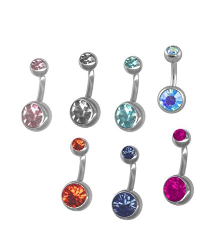 A Pack Of 7 Double Jeweled Belly Button Ring Pack 14g Steel Short