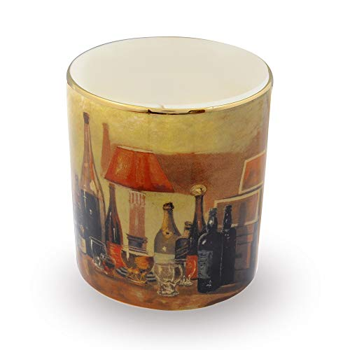 Halcyon Days, Bottlescape' (Winston Churchill) Fine English Bone China Candle Holder/Container, 24K Gold Trim, Halcyon Gift Box