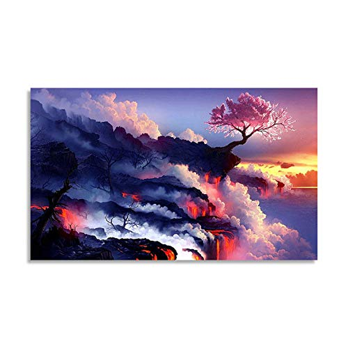 Painting by Numbers Art Paint by Number DIY Digital Painting Beautiful Magma Landscape Living Room Room Decoration Painting Deco Canvas Wall Art 22X28in
