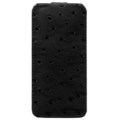 Melkco Jacka Type Leder Case für Apple iPhone 5 Ostrich Print Pattern Bitumen schwarz