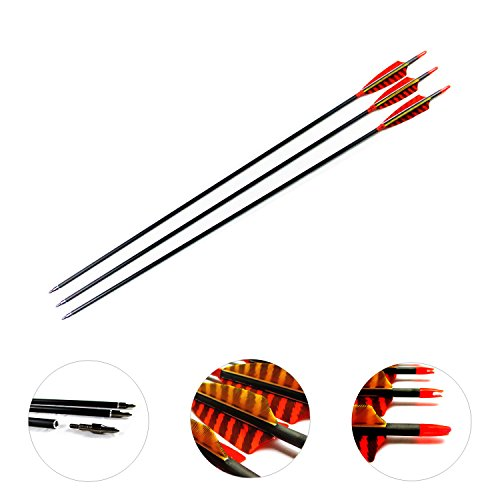 MS Jumpper Archery Carbon Arrows Hunting Arrows Spine 400 With Real Feathers For Compound Bow Longbow (29inch) ()