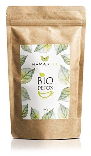 Detox Tee 100% BIO - 14 Tage Kur zur Entgiftung des Körpers - Natürlich Entschlacken und Abnehmen - Ergänzung zu Diäten - 100g - Qualität aus Deutschland