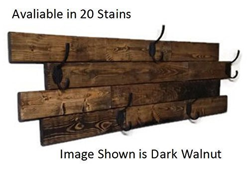 Renewed Decor Farmhouse Large Horizontal Hanging Plank Coat Rack with 5 heavy duty double hooks, 19 stain colors available
