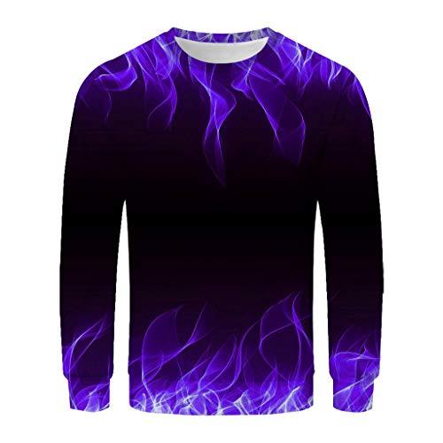 WUAI Unisex Men's 3D Printed Casual Long Sleeve Crewneck Slim Fit T-Shirt Pullover Sweatshirt(Purple,X-Large