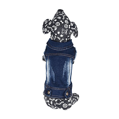 iiniim Pet Dog Costume Blue Jeans Lapel Coat Jumpsuit Clothes (XXL) (Halloween Costumes Denim Vest)