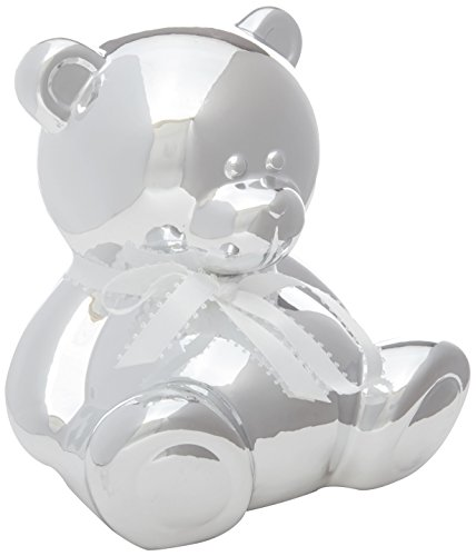 Bear Bank Piggy - C.R. Gibson Chrome Piggy Bank Coin Bank, 6.5'' x 4.5'' x 4.5'', 1 Piece