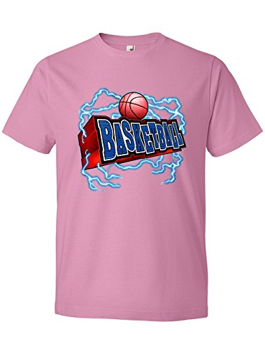 Tenacitee Men's Basketball Lightning Scoop Neck T-Shirt, 2X-Large, Charity Pink (Charity Gift Basket Ideas)