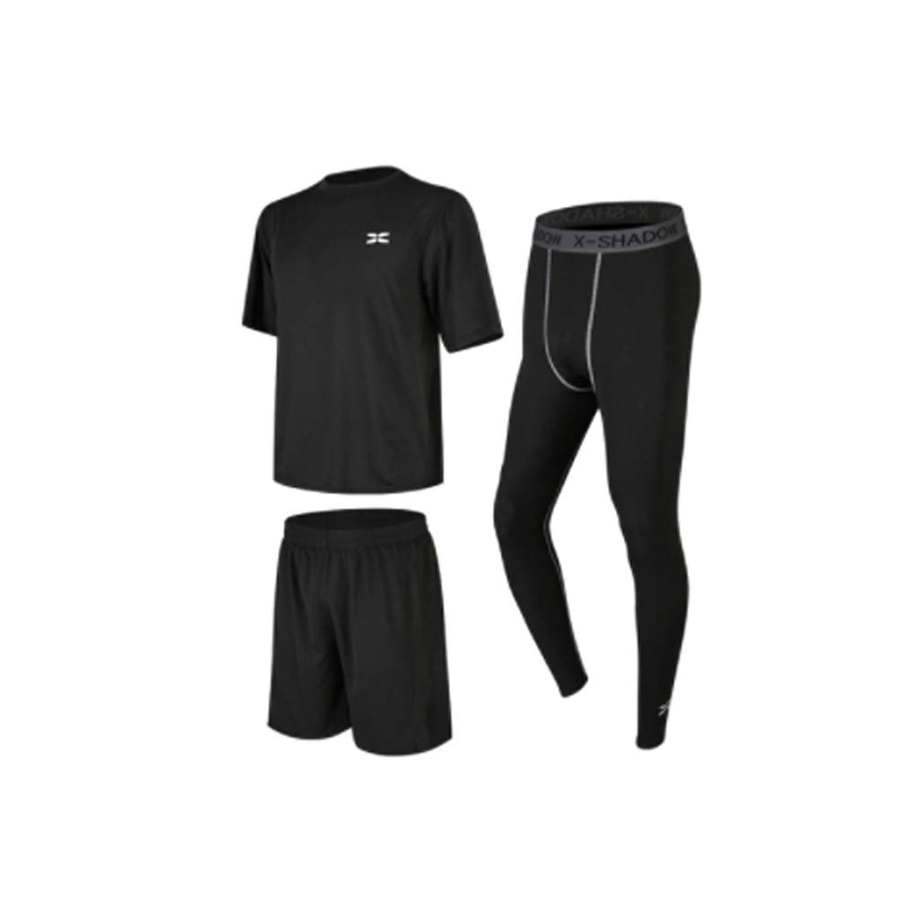 Lilongjiao Fitness Laufbekleidung Herren Fitness Bekleidung Sportswear dreiteilige Fitness Morgen Lauf schnell trocknende Trainingsstrumpfhose