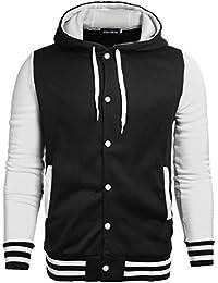 Jinshida Men's Slim Fit Hooded Baseball Jacket
