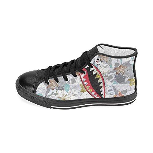 D-story Custom Banana Pattern Con Denti Di Squalo Womens Classic High Top Scarpe Di Tela Fashion Sneaker Shark6