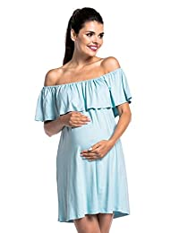 Zeta Ville - Womens Nursing Dress Double-Layer Bardot Neckline Maternity - 624c