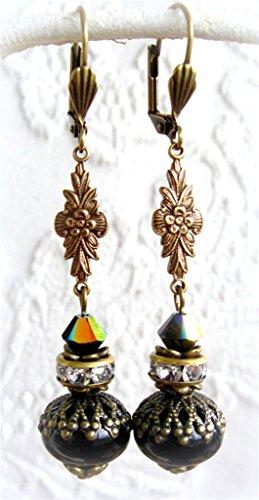 Designs By Robin Rose Women's Artisan Black Lampwork Dangle Earrings Brass 2 1/2