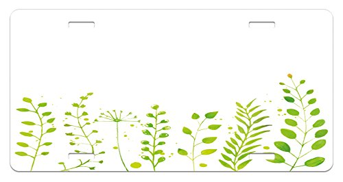 Nature License Plate by Lunarable, Hand Painted Watercolors Fresh Green Plants Twigs Flowers Botanical Spring Garden Growth, High Gloss Aluminum Novelty Plate, 5.88 L X 11.88 W Inches, (Painted Garden Green Plate)