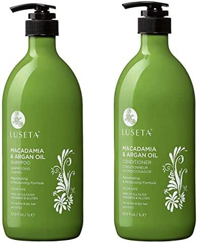 Luseta Macadamia & Argan Oil Shampoo & Conditioner Set, Rejuvenating & Moisturizing Hair, 2 x 33.8 Oz