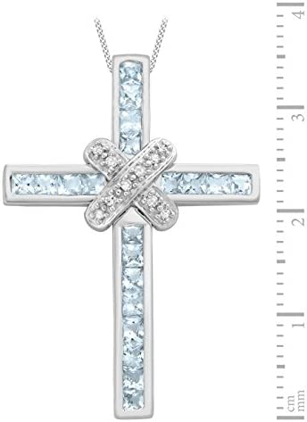 Carissima Gold 9ct White Gold Diamond and Blue Topaz Cross Pendant on Chain Necklace of 46cm/18""