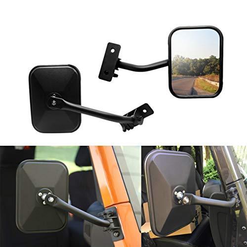 Textured Black Jeep Wrangler - Motobiker 1 Pair Door Off Mirror for Jeep Wrangler One Pair Rectangular Mirrors fit for 1997~2006 2007~2017 Jeep Wrangler TJ Mirrors For Jeep, Textured Black (Rectangular)