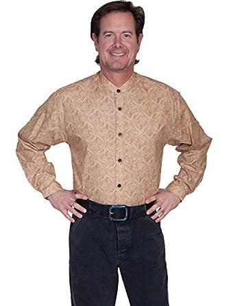 Victorian Men's Shirts- Wingtip, Gambler, Bib, Collarless Front Paisley Shirt  AT vintagedancer.com