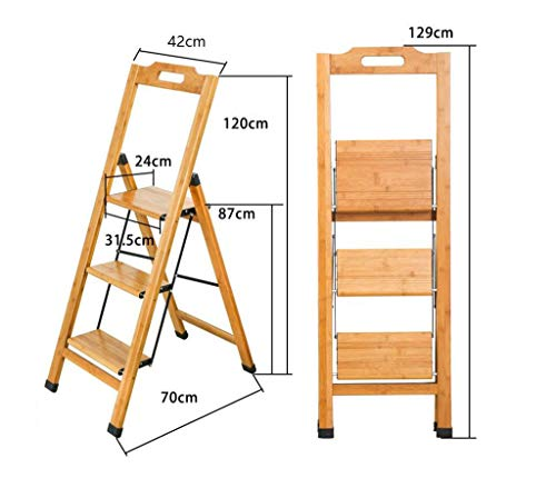 (PLLP Solid Wood Dining Chair, Leisure Bench,Home Furniture Furniture Solid Wood Home Multifunction Fold Ladder Stairs Chair Staircase Indoor Mobile Climb Ladder Small)
