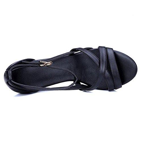Evening Court Buckle Strappy Thick Plarform Heeled Pumps High Toe Womens Shoes Sandals Black Peep Dress xW8vwqFnR7
