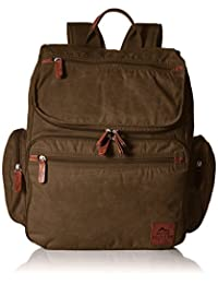 Buxton Men's Expedition Ii Huntington Canvas Backpack, Olive