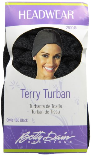 Betty Dain Stretch Terry Cloth Turban, Black