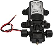Power Water Pump 12V 70W 6L/Min Diaphragm High Pressure Water Self Priming Pump, Two Side Thread Flow Back Pum