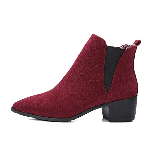 AdeeSu Girls Moccasin Boots Solid Kitten-Heels Imitated Suede Boots Red AaNnV8Woc