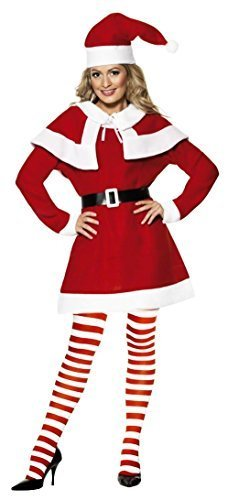 Ladies Missy Santa Mrs Claus Christmas Xmas Festive Fancy Dress Costume Outfit (UK 8-10) Red