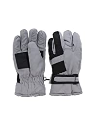 Waterproof Stripe Ski Gloves for Youth - Grey