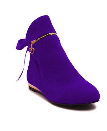 Maybest Womens Autumn Winter Low Heel Flat Block Zip Ankle Chelsea Boots Ladies Shorty Shoes Purple 11 B (M) US