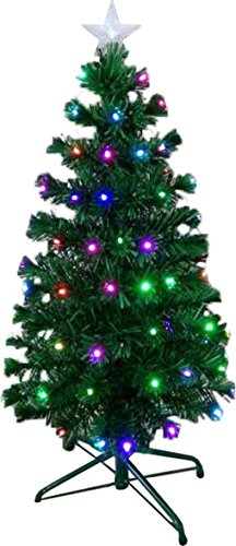 Holiday Essence 5 Ft Prelit Led Artificial Christmas Tree With Solid Metal Legs,5 Foot, Prelit With 150 Multicolor Changing Color Led lights, With 5 Leds Star Tree Topper, 150 Tips,UL Listed