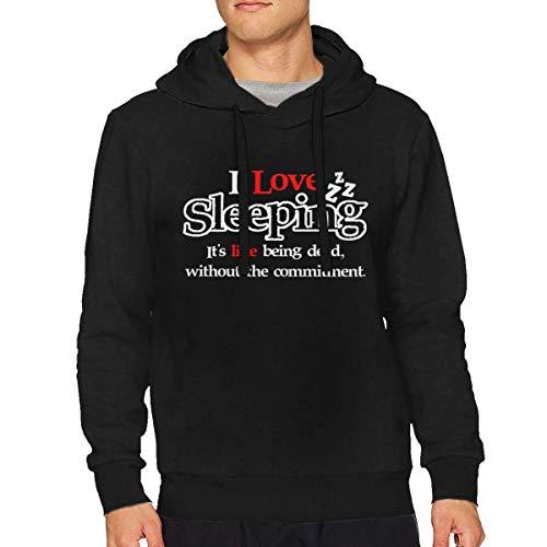 Men's I Love Sleeping It's Like Being Dead Particular Drawstring Hooded S Black ()