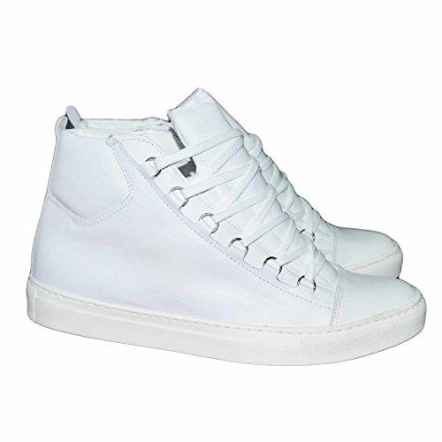 Sneakers alta stringata vera pelle liscia uomo bianca uomo man