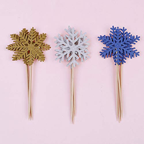Cake Decorating Supplies - 12pcs Lot Cute Snowflake Cartoon Cupcake Per Cake Flags Party Baby Shower Decoration - Clearance Innovations Butter Sprinkles Kids Carrying Dallas Eyes Russian]()