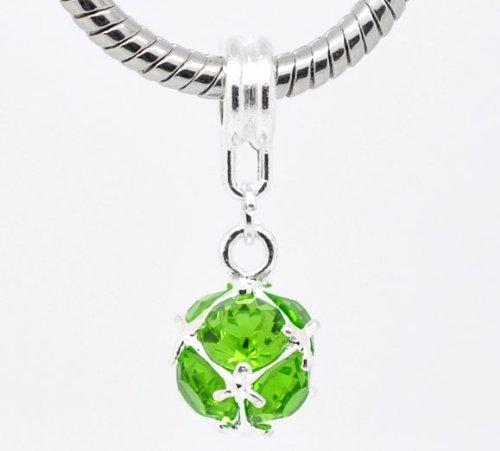 Birthstone Spacer Bead Charm (August Peridot Green Dangling)