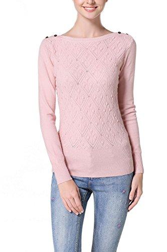 Suéter de Baisc suéter manga larga de la mujer Pink