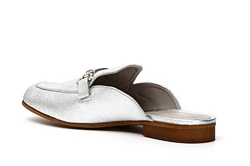 CAFèNOIR CAF Noir ED122 Silver Sabot Ciabatta Woman Type Moccasin Leather 277 Antracite OERMwPO3d3