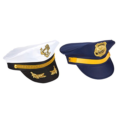 Motorcycle Cop Costumes (2 Pack Novelty Police and Sea Captain Hat Caps - Fun Party Favor Outfit Costume Cop Outfit Sailor Outfit with Gold Trim Braid)