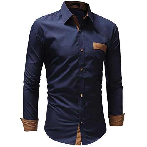 Men's Bamboo Fiber Dress Shirts Slim Fit Solid Long Sleeve Casual Button Down Shirts, Elastic Formal Shirts for Men (Navy, XL) by OWMEOT (Image #1)