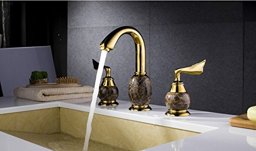 Furesnts Modern home kitchen and bathroom faucet Cu all three piece of jade continental antique black basin under the golden basin Art,(Standard G 1/2 universal hose ports)