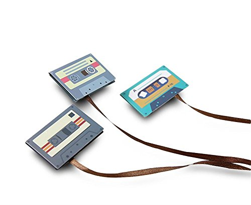 Finex - SET of 6 - Magnetic Retro Classical CASSETTE TAPE Decorative Paper Clip Bookmark Set Creative Unique Bookmarks with Long Tail Ribbon Planner Clips School Home Office Supplies
