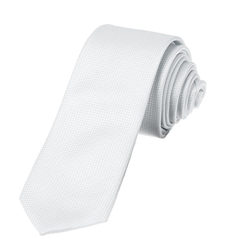 DAE2007 White Youth Skinny Tie Matching Present Box Set Checkered Tie For Men ST By Dan (Thin White Tie)
